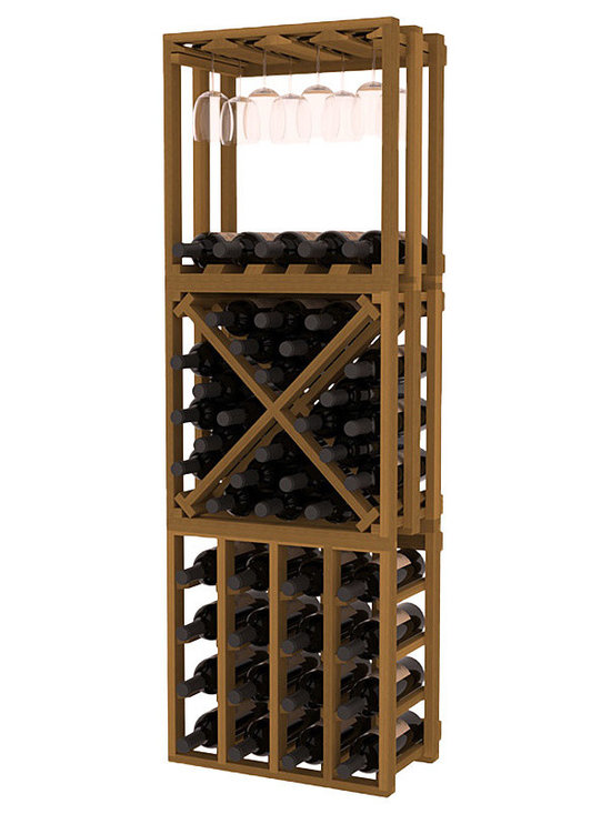 Lattice Stacking Cube - 3 Piece Set in Redwood with Oak Stain - Designed to stack one on top of the other for space-saving wine storage our stacking cubes are ideal for an expanding collection. This 3-piece set comes with (1) X-Cube, (1) Stemware Cube and (1) 4 Column Cubicle. Use as a stand alone rack in your kitchen or living space or pair with more stacking cubes as your wine collection grows.