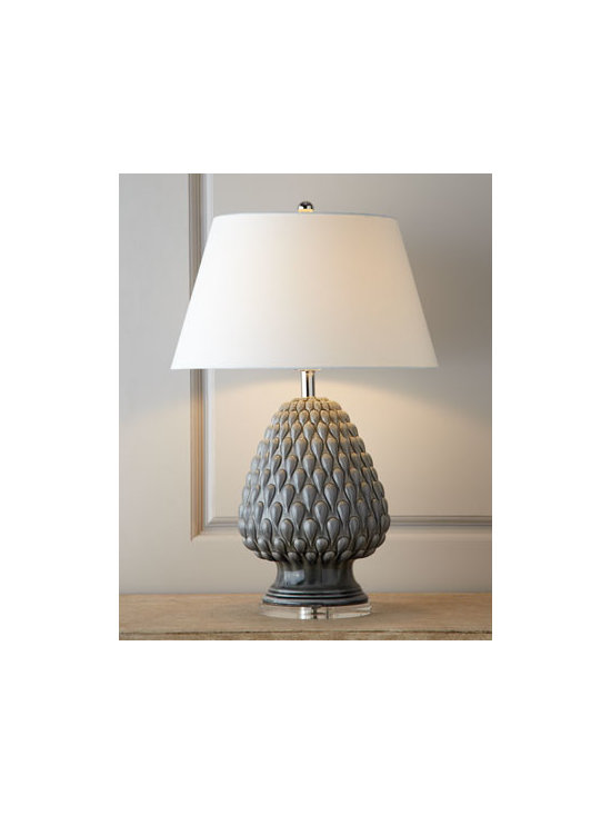 "Horchow - Porcelain ""Artichoke"" Lamp - With its artichoke-inspired body, this lamp brings casual, organic charm to room decor. Finished with special reactive glazes, each lamp takes on a character of its own. Made of porcelain. Select color when ordering. Reactive glaze finish. Linen shade. Three-way switch at socket; uses one 150-w"