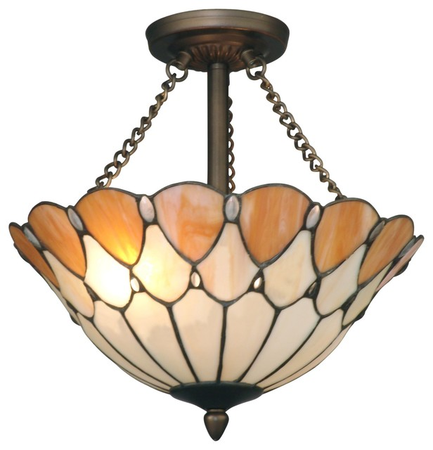 Dale Tiffany TH11202 Scalloped Jeweled Traditional Semi Flush Mount Ceiling Ligh traditional-flush-mount-ceiling-lighting