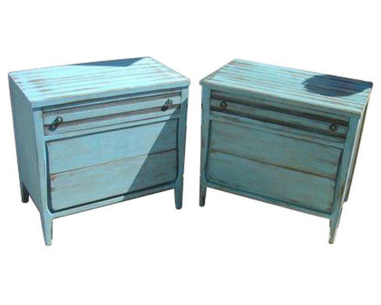 Blue Painted Shabby Chic Dressers - A Pair - Dimensions 32.0ʺW × 19.0ʺD × 30.0ʺH