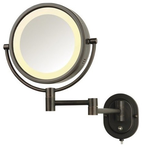 wall mount halo lighted mirror in bronze traditional makeup mirrors. Black Bedroom Furniture Sets. Home Design Ideas