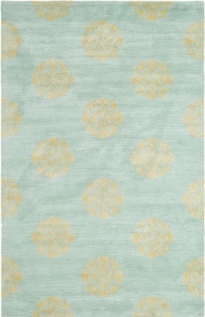 Rosa Area Rug Turquoise Beige Contemporary Rugs By