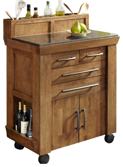 Home Styles Vintage Gourmet Kitchen Cart In Black And Oak