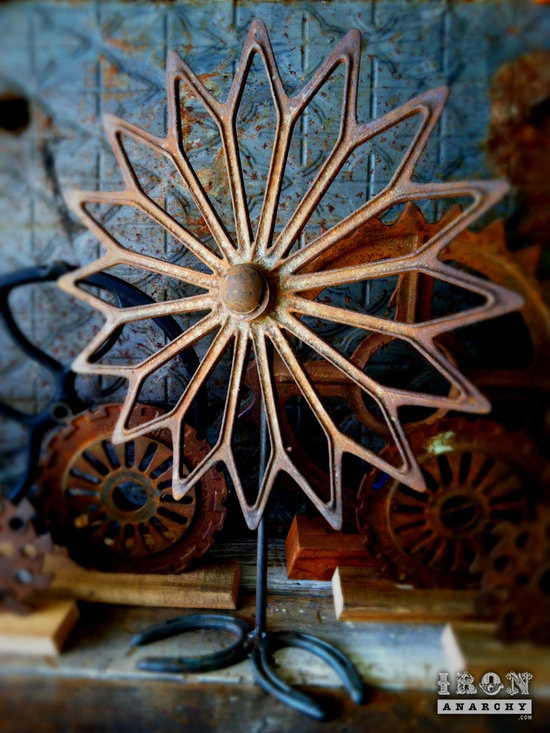 """Antique Industrial Gear Decor - 1800's cast iron wheel in an incredibly dynamic design! Extremely rare. Custom metal display stand. 16"""" diameter."""