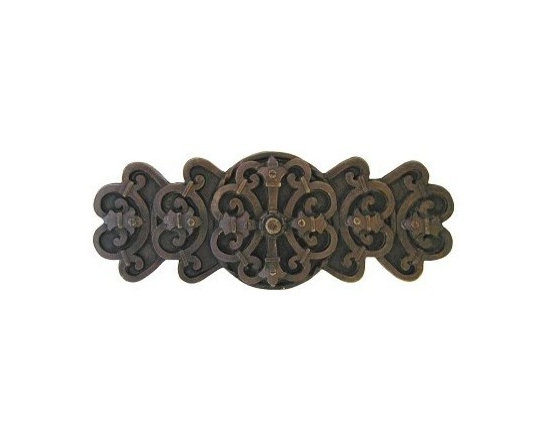 """Inviting Home - Chateau Pull (dark brass) - Hand-cast Chateau Pull in dark brass finish; 4-1/8""""W x 1-5/8""""H; Product Specification: Made in the USA. Fine-art foundry hand-pours and hand finished hardware knobs and pulls using Old World methods. Lifetime guaranteed against flaws in craftsmanship. Exceptional clarity of details and depth of relief. All knobs and pulls are hand cast from solid fine pewter or solid bronze. The term antique refers to special methods of treating metal so there is contrast between relief and recessed areas. Knobs and Pulls are lacquered to protect the finish. Detailed Description: The Chateau pulls are a very dramatic accessory to any cabinets or drawers. Pulls are inspired by the designs used all over the French country-side chateaus. They were the houses in which nobility resided. The Chateau design is meant to look strong an unyielding while giving an incredibly elegant and delicate touch. The Chateau pulls are a great match with the Chateau knobs."""