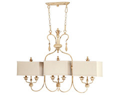 Maison French Country Antique White 6 Light Island Chandelier transitional-chandeliers