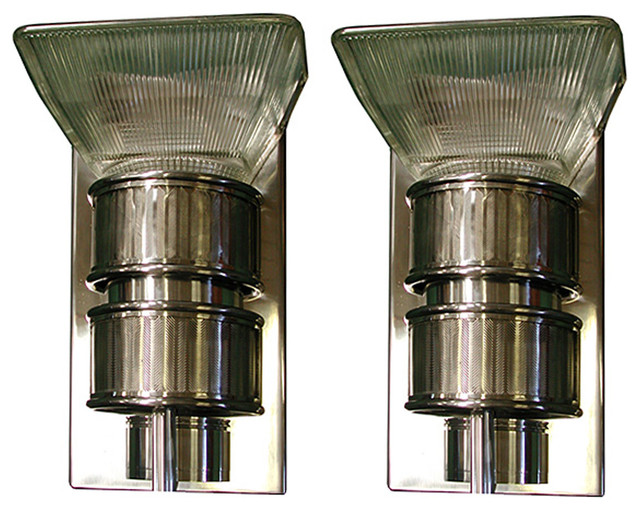 Beautiful pair of 20th c art deco machine age sconces for Art deco exterior light fixtures