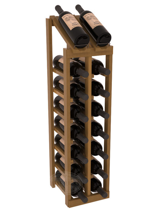 Wine Racks America - 2 Column 8 Row Display Top Kit in Redwood, Oak Stain + Satin Finish - Display your best vintage while efficiently storing 16 wine bottles. This slim design is a perfect fit for almost any space. Our wine cellar kits are constructed to industry-leading standards. Display top wine racks are perfect for commercial or residential environments.