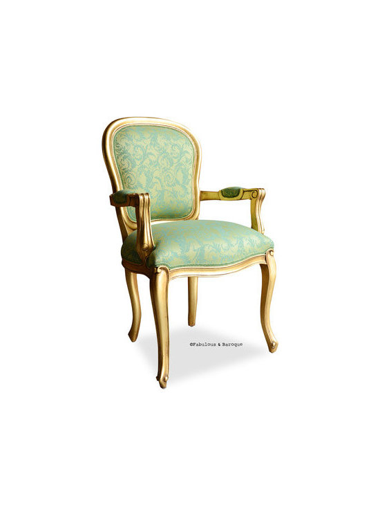 Fabulous & Baroque's French Upholstered Armchair - Gold Leaf & Lime Damask - This fabulous French armchair is finished is a beautiful gold leaf finish and a hand applied glaze. The final touch is upholstery in a rich lime damask fabric.