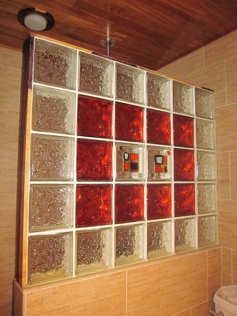 Glass Block Shower Wall Transitional Houston By
