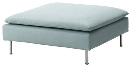 Söderhamn Footstool Cover, Isefall Light Turquoise modern-footstools-and-ottomans