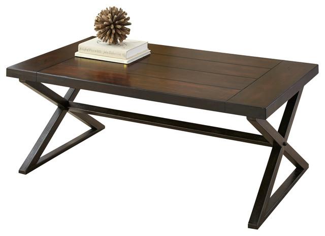 Steve silver omaha cocktail table in dark cherry modern for Modern cherry coffee table