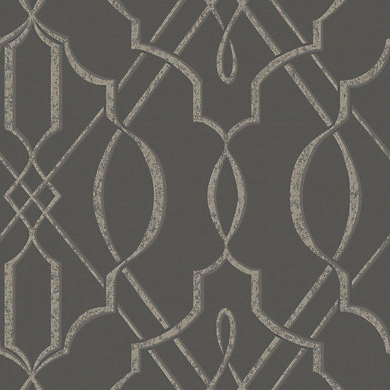 Home design brick wall texture black and white wainscoting entry - Arabesque Design Wallpaper Gray Double Roll
