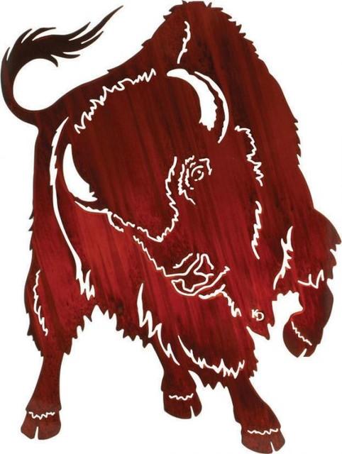 No Contest 30-inch Western Buffalo Metal Art, Kathryn Darling - Rustic ...