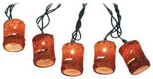10-Piece Natural Tiki Mask String Light Set beach-style-outdoor-lighting
