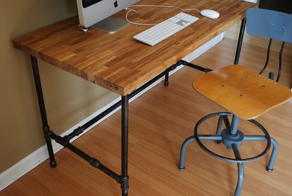 Industrial Desk with Oak Top and Steel Pipe Legs by Urban ...