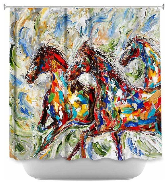Shower Curtain Artistic Abstract Wild Horses contemporary-shower-curtains