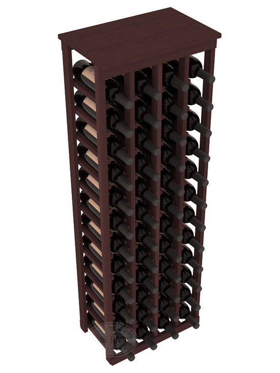 """48 Bottle Kitchen Wine Rack in Redwood with Walnut Stain - Store 4 complete cases of wine in less than 20"""" of wall space. Just over 4 feet tall, this narrow wine rack fits perfectly in hallways, closets and other """"catch-all"""" spaces in your home or den. The solid wood top serves as a shelf or table top for added convenience and storage of nick-nacks."""