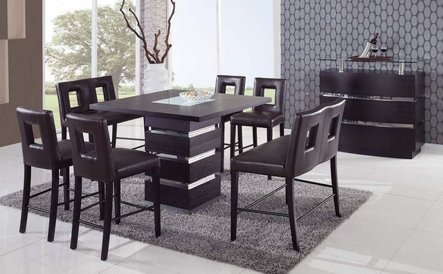 Modern Bar Tables And Chairs : ... Top Leather Modern Dinette Sets and Chairs contemporary-dining-tables