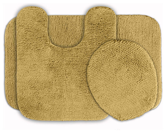 Sands Rug - Cheltenham Linen Washable Bath Rug (Set of 3) - Add a layer of plush comfort and safety with the inviting Cheltenham bath and spa rug collection. Each piece, whether a bath runner, bath mat or contoured rug, is created from soft, durable, machine-washable nylon. Each floor piece is backed with skid-resistant latex for safety.
