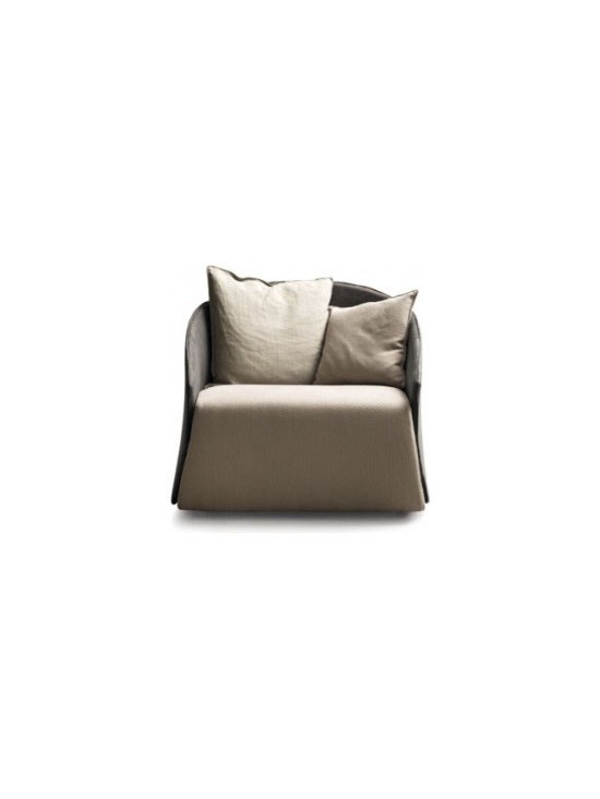 Eco Friendly Furnture and Lighting - Elegant and wiggly shapes for this armchair that reminds of the wrapping corsets worn by XVII century ladies. It is composed of a recycled rigid steel body embracing a huge pillow made of feather. In terms of shape, it expresses the sensibility and taste of a fashion object because it lends itself to endless changes and interpretations. The ergonomics unite perfectly with the small size, ideal for modern houses where the furnishings have to express and colour the environment without invading it.
