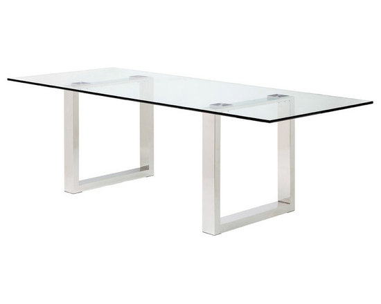 Samuele Dining Table - Samuele dining table delivers simple lines and elegance with its clear or smoke glass top and stainless steel base. Samuele is suitable for home or public settings. Available in 2 sizes. Dimensions: 78¾ x 39½ x 29½; 98 x 39½ x 29½ (inches).