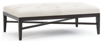 Martha Stewart Ottoman, Eaton Tufted Leather Cocktail Ottoman traditional ottomans and cubes