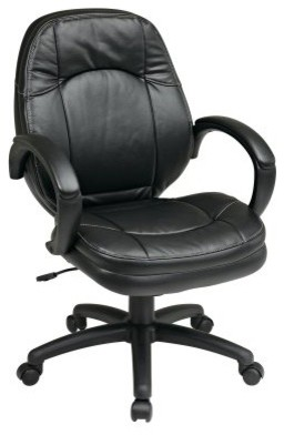 Office Star Executive Faux Leather Office Chair with Padded Arms modern-office-chairs