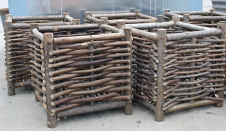 Belgian Hazelwood Box Planters traditional-outdoor-planters