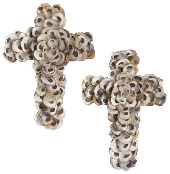 Oyster Shell Cross Traditional Artwork By Wisteria