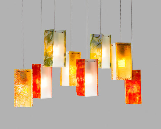 Galilee Lighting - A beautiful art glass that make a breathtaking chandelier, hand made and created by our artist. we specialize in custom design and all our products are available in other colors, sizes, and canopies.