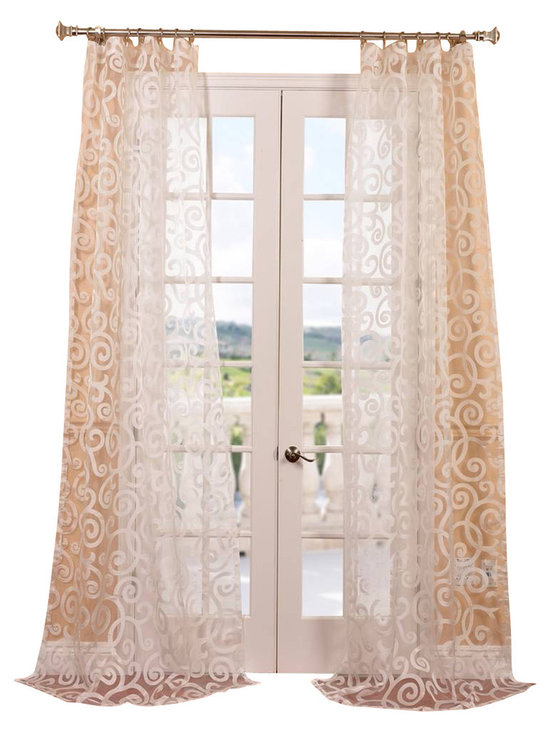 """Exclusive Fabrics & Furnishings, LLC - Marietta White Patterned Sheer Curtain - 100% Polyester. 3"""" Pole Pocket. Imported. Dry Clean Only."""