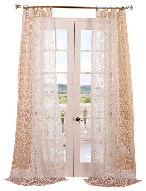 Marietta White Patterned Sheer Curtain Contemporary Curtains By Half Price Drapes