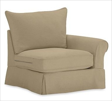 PB Comfort Roll-Arm Slipcovered Right Armchair, Polyester Wrap Cushions, Brushed traditional-armchairs-and-accent-chairs