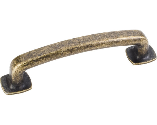 Jeffrey Alexander MO6373ABM-D Cabinet Pull Handle - Belcastel 1 Series - Standar - This distressed antique brass finish standard sized cabinet pull with forged design is a part of the Belcastel 1 Series from Jeffrey Alexander and is perfect for use on cabinet doors and drawers capable of accepting a mounted pull.