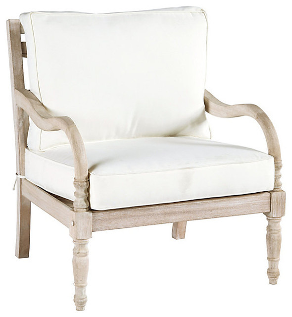 Ceylon Whitewash Lounge Chair Traditional Outdoor Chaise Lounges by Bal