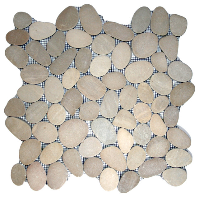 Java tan pebble tile pebble tile shop - Sliced Java Tan Pebble Tile Rustic Tile Other Metro