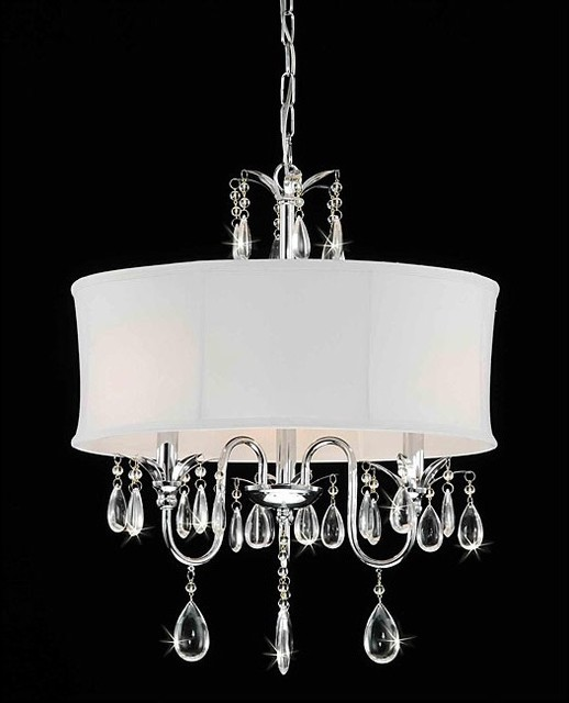 Crystal Chrome 3-light Chandelier contemporary-chandeliers