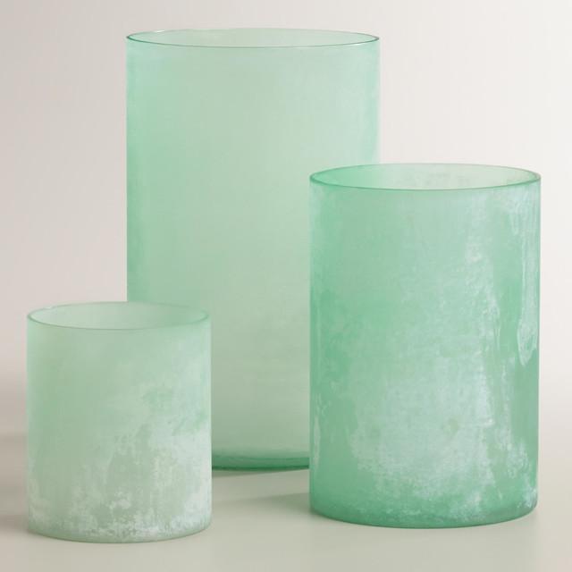 Blue Sea Glass Hurricane Candleholder Beach Style