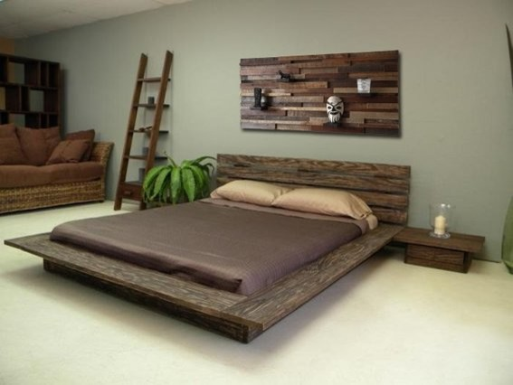 Reclaimed Wood Bed Headboard And Night Stands Rustic
