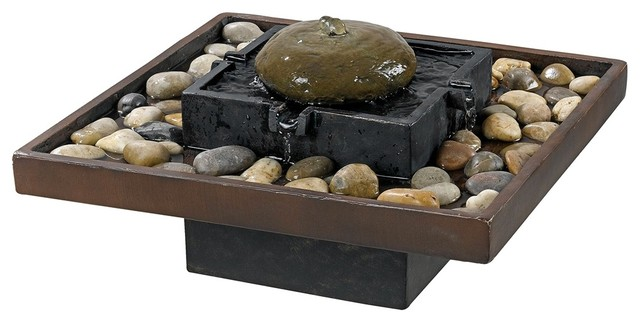 Bliss Two-Tone Bronze Decorative Table Fountain asian-outdoor-fountains-and-ponds