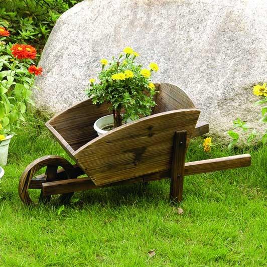 Wooden Decor Flower Pot Wheelbarrow Contemporary