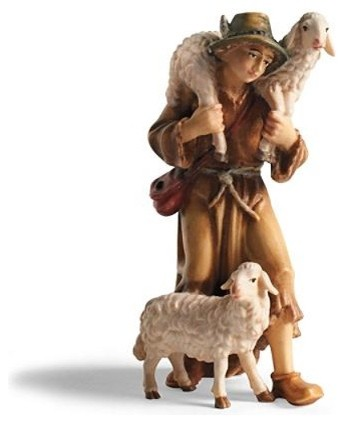 Kostner Shepherd with Two Sheep Nativity Figurines traditional-holiday-decorations