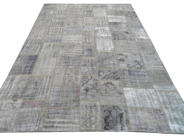 Vintage Overdyed Distressed Patchwork Rug In Grey Colors