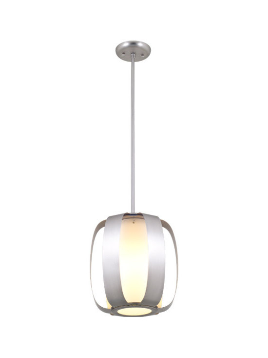 DVI Lighting - Juneau Pendant - Juneau Pendant features an Opal diffuser with Graphite or Buffed Nickel finishes. Available in small and large sizes. 100 watt, 120 volt A19 type medium base incandescent bulbs are required, but not included. Small: 11 inch width x 12.75 inch height x 54.75 inch length. Large: 17 inch width x 20.5 inch height x 58 inch length.