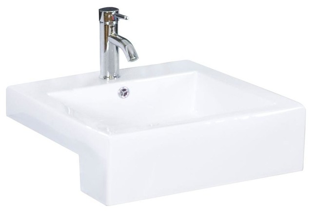 ... -Recessed Rectangle Vessel Sink in White contemporary-bathroom-sinks