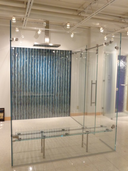 Walk In Shower With Sliding Barn Door Glass Bench And Mirrored Wall Paper