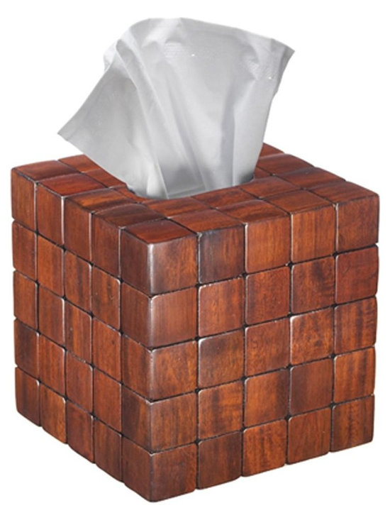 "Barclay Tissue Cover, Mahogany - Dimensions: 6"" x 6"" x 6.5"""
