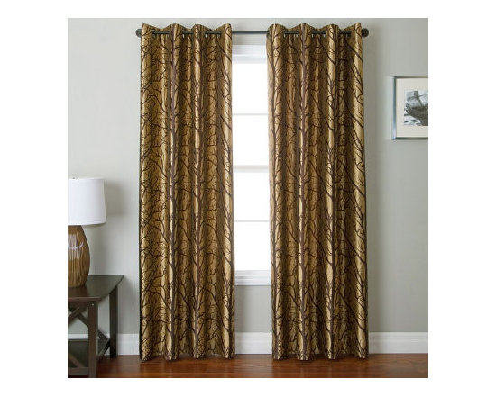 Grandin Road - Element Jacquard Drapery Panel - Reversible jacquard curtain with a contemporary tree branch pattern. Each curtain panel sold separately. Made from 100% polyester. Each panel hangs from eight nickel-toned grommets. Reverse the curtains regularly to keep both sides looking like new. Refresh a room in an instant with the reversible Element Jacquard panels with grommets. The classic jacquard design features a contemporary tree branch design on both sides of each panel. Make your windows even more delightful and distinctive and feel free to change the look of your room with a quick reverse of the drapes.  .  .  .  .  . Dry clean only . Imported.