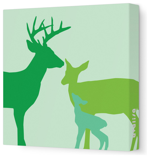"Animal - Deer Stretched Wall Art, 18"" x 18"", Green contemporary-kids-decor"
